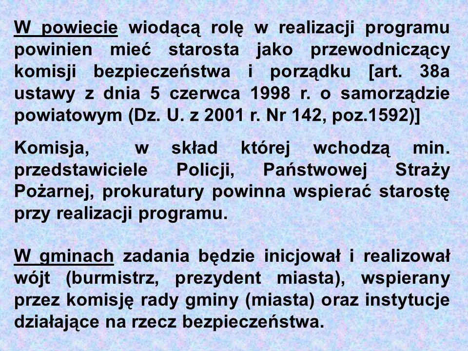 W powiecie wiodącą rolę w realizacji programu powinien mieć starosta jako przewodniczący komisji bezpieczeństwa i porządku [art. 38a ustawy z dnia 5 czerwca 1998 r. o samorządzie powiatowym (Dz. U. z 2001 r. Nr 142, poz.1592)]